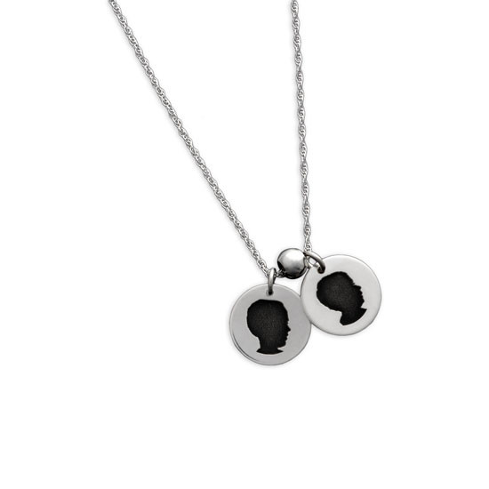My Child's Cameo Necklace custom made in sterling silver from your child's actual photo, shown on white