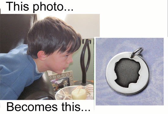 My Child's Cameo Necklace custom made in sterling silver from your child's actual photo, shown with original photo used to create it