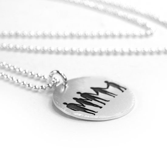 My Silhouettes Necklace, shown from side