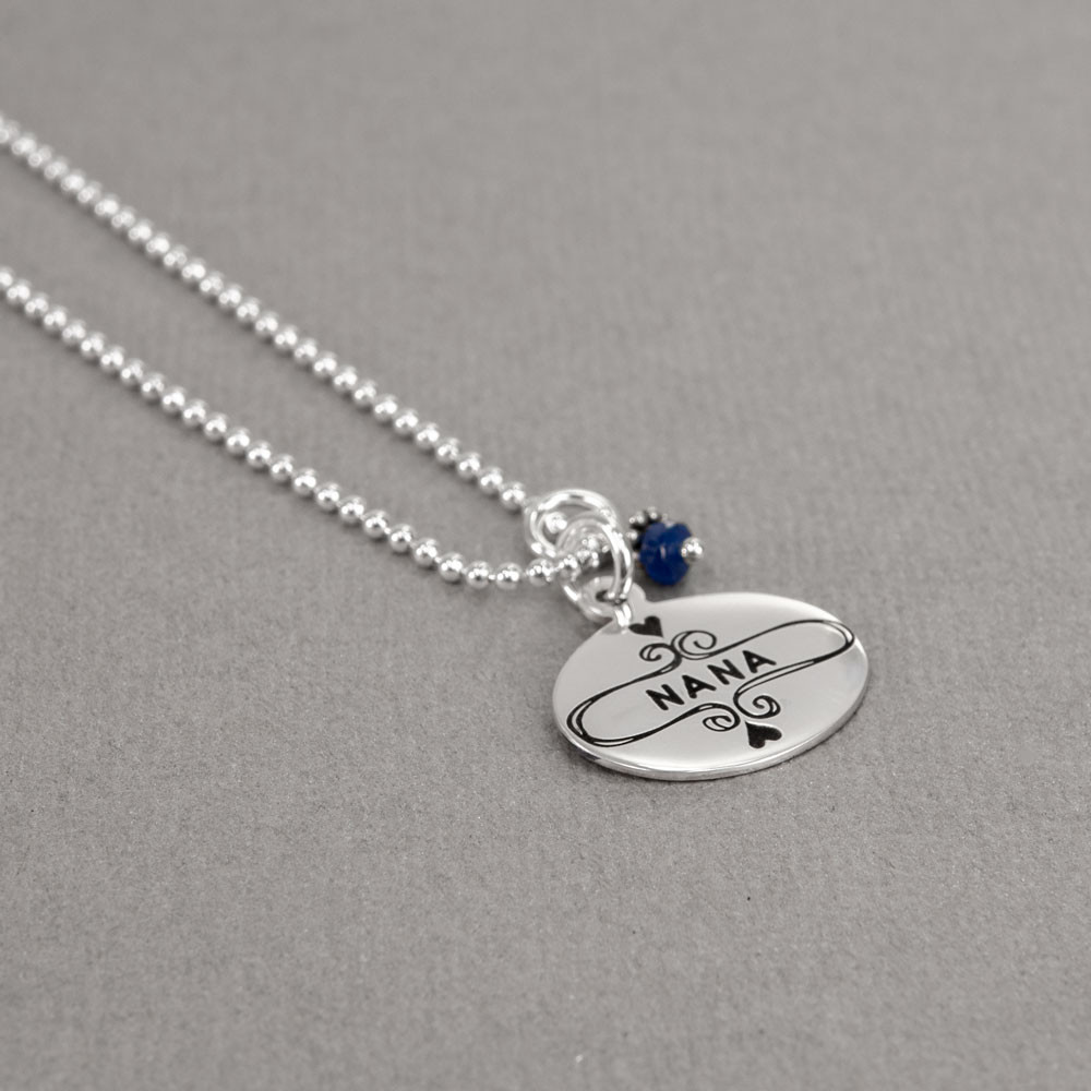 Sterling Silver Nana Necklace, shown with birthstone from the side