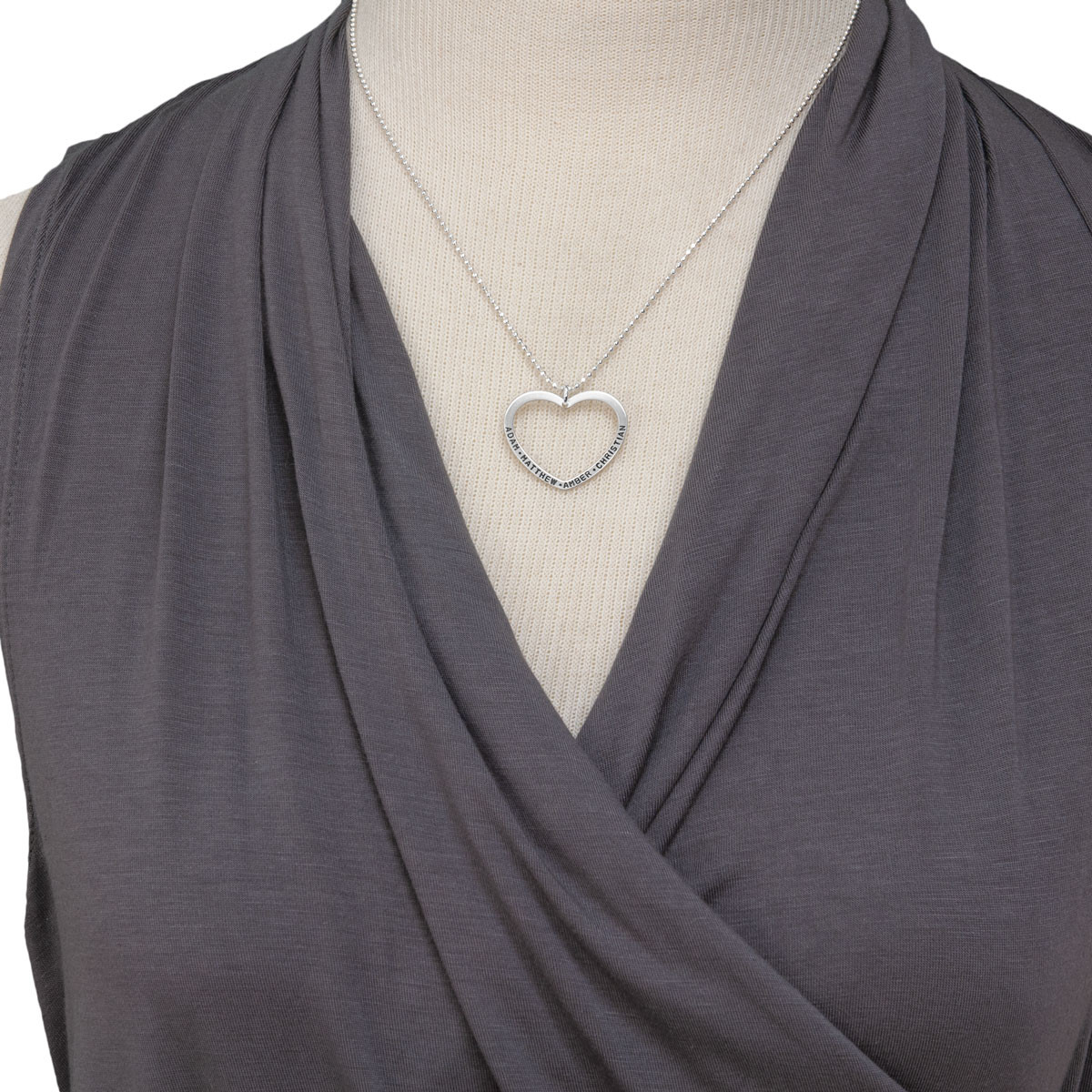 Open Heart Charm Silver Necklace, shown on model