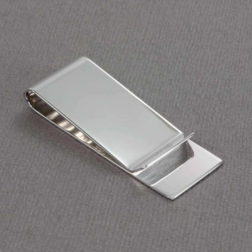 Sterling Silver Personalized Money Clip, customized with monogram, shown from the back