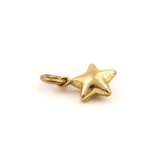 Side view of gold star charm to hang on a hand stamped necklace or handwriting necklace