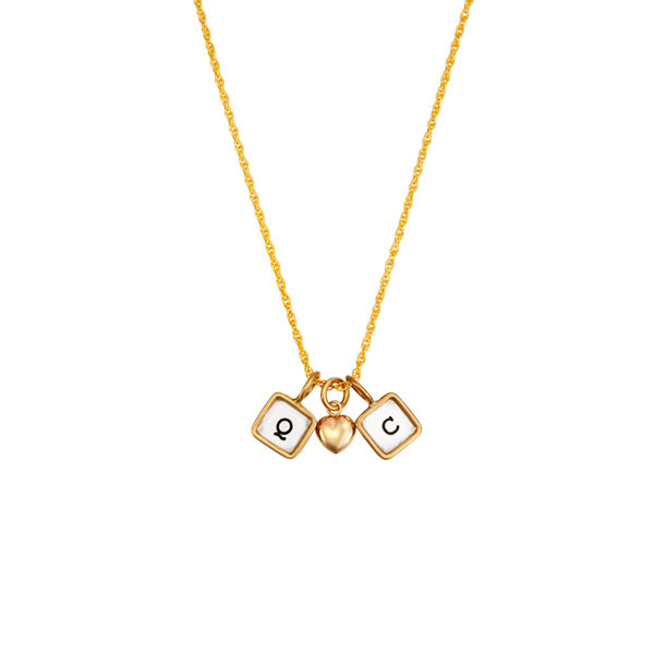 Mini squares with initials on gold chain, shown on white