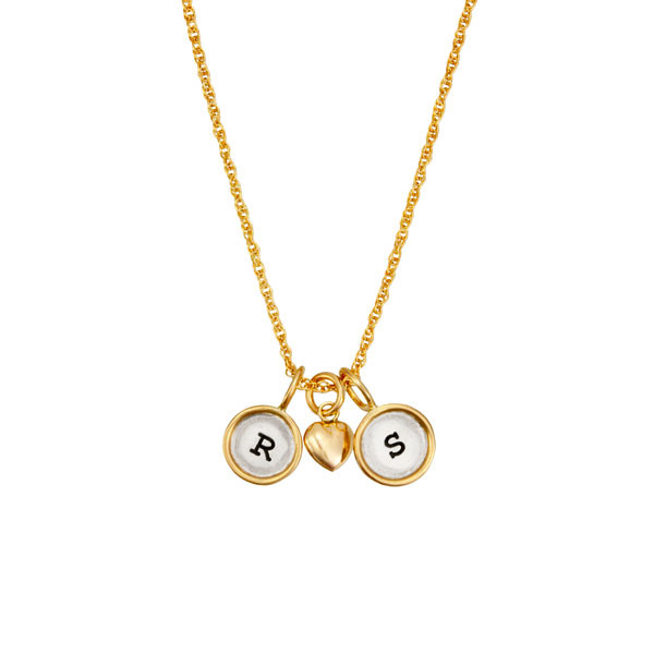 Mini rounds with initials on gold chain, shown on white