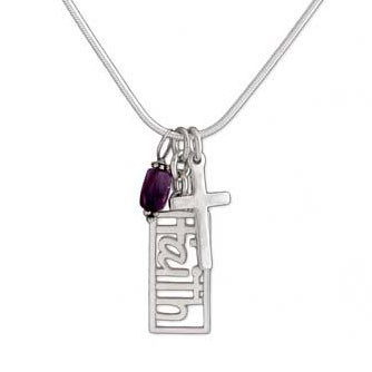 Rectangle Faith with Amethyst & Cross Necklace