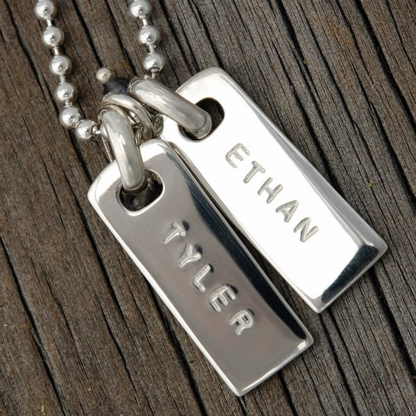 Hand stamped rectangle pendants