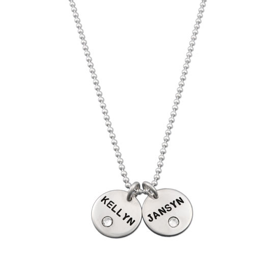 Silver Disc with Crystal Birthstone Necklace