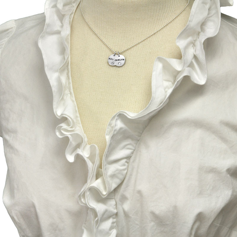 Silver Disc with Crystal Birthstone Necklace, shown on a model
