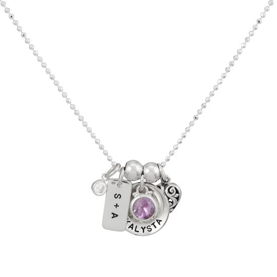 Silver Disc with Genuine Birthstone Necklace seen with other charms