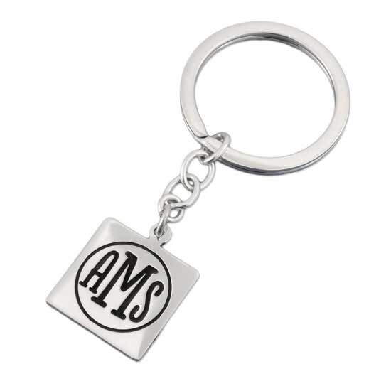 Square Monogram Key Ring