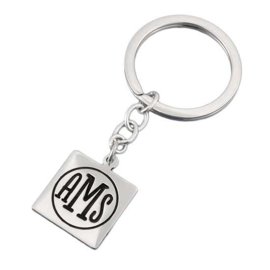 Square Monogram Key Ring
