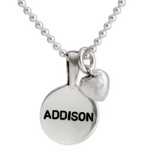 Sterling Circles of Affection silver hand stamped name necklace
