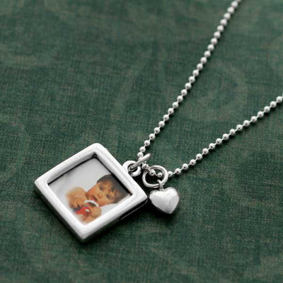 Sterling Double-Sided Photo Frame Necklace