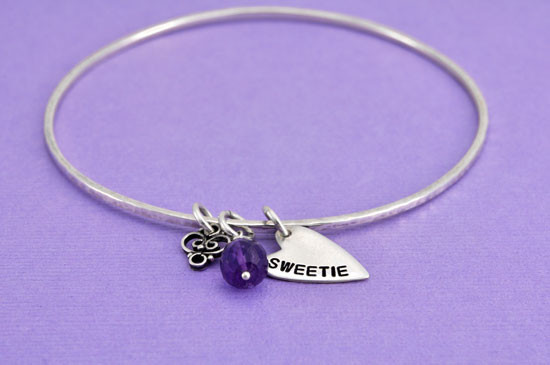 Hand stamped heart bangle braceclet