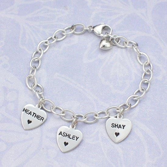 Hand stamped mom bracelet with hearts