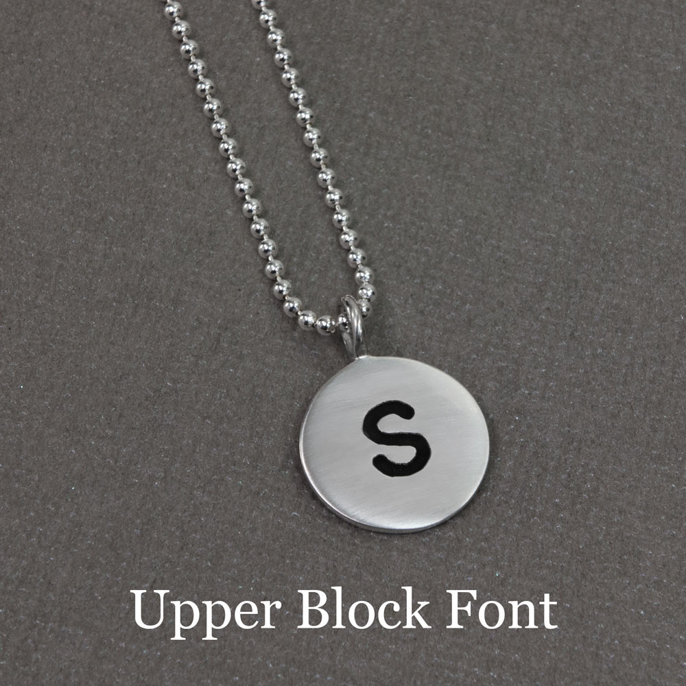 Hand stamped custom Sterling Silver Initials Necklace, shown with upper block font