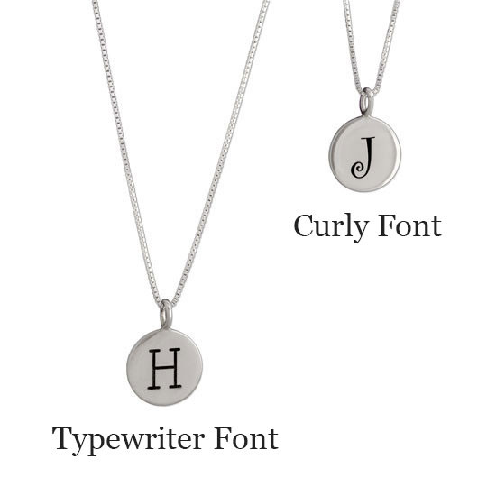 Hand stamped custom Sterling Silver Initials Necklace, shown on white with 2 different font options