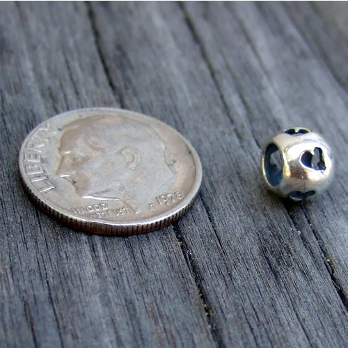 Sterling Spacer Bead with Heart Cutouts