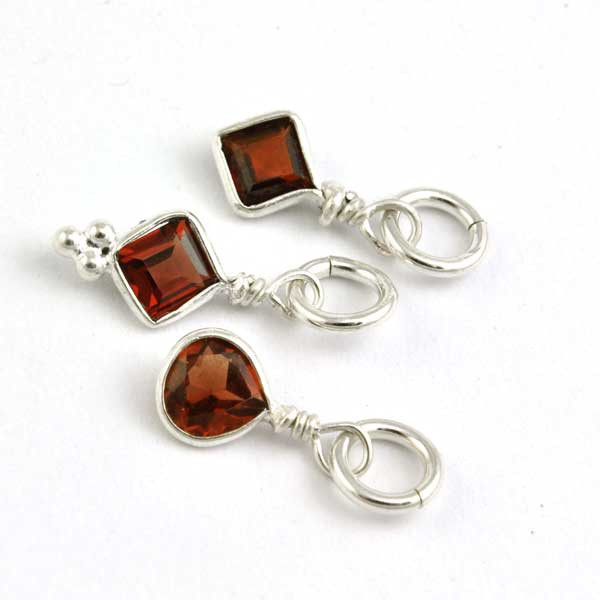 Sterling Wrapped Stone - Red Crystal (Jan)