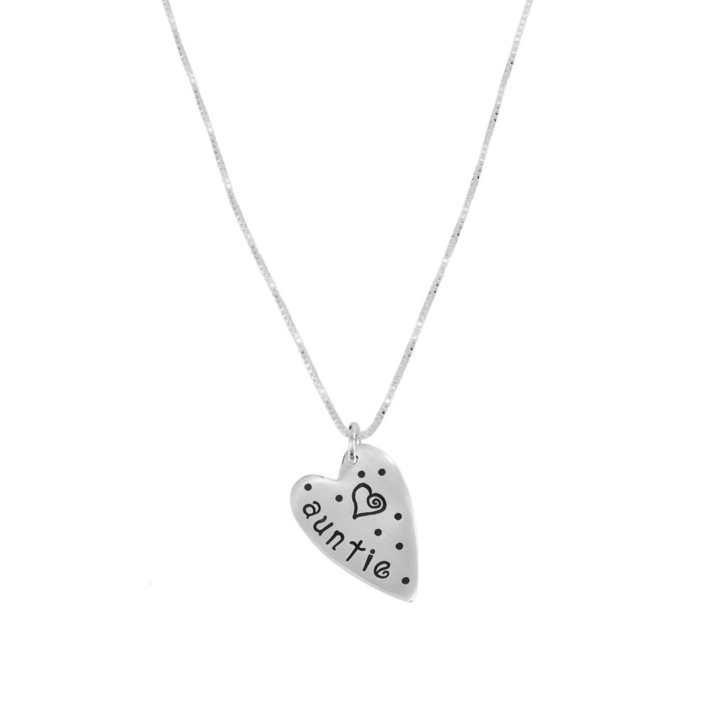 Silver Sweetest Heart Necklace stamped with Auntie and a heart, shown on white