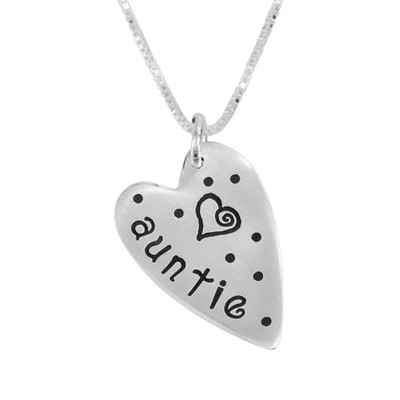Silver Sweetest Heart Necklace stamped with Auntie and a heart, shown close up on white