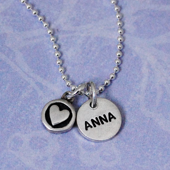 "1/2"" Thai Fine Silver Name Discs (Matte finish) with Heart in a Circle Charm"