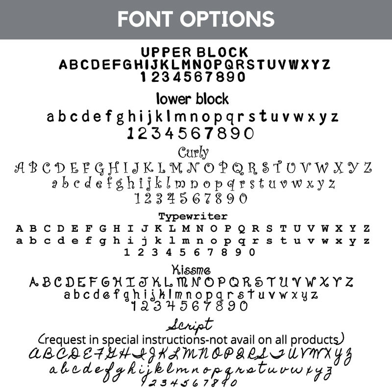 hand stamped font options