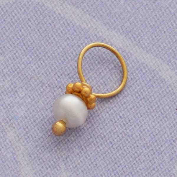 Tiny Cultured Pearl with Gold Accents (June)