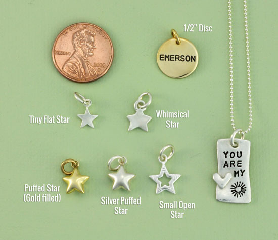 Charm size comparison of some star charms