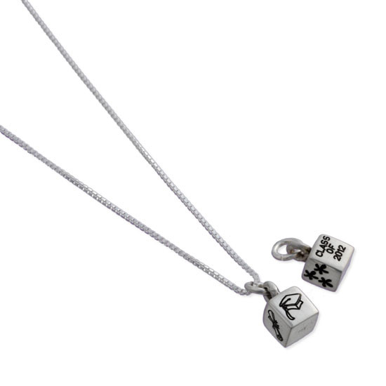 Cube necklace with grad cap