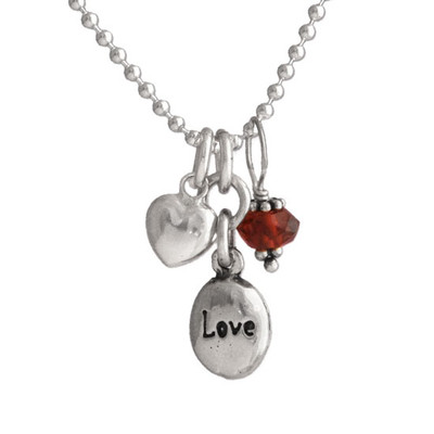 Tiny Love with Garnet & Heart Necklace