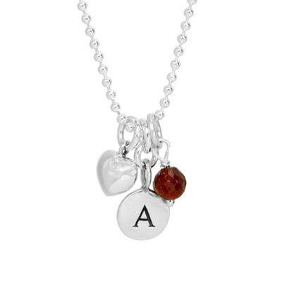 Silver Tiny Round Initial Charm necklace with letter A, shown with birthstones