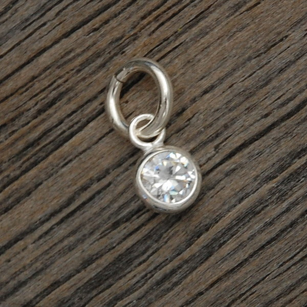 Tiny Round Sterling Wrapped Cubic Zirconia