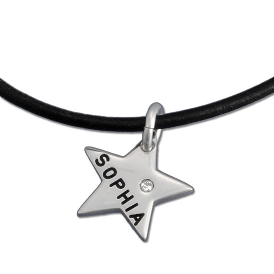 Tiny Stars with Diamonds Name Necklace