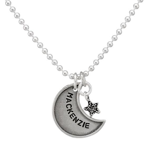 Vintage Style Raised Edge Moon Necklace