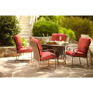 Cedar Island All-Weather Wicker 5-Piece Patio Dining Set with Red Cushions