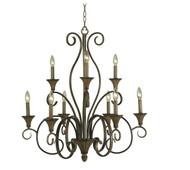 Hampton Bay Chester 9 Light Aruba Teak Chandelier