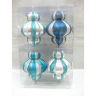 Martha Stewart Living Arctic 6 in. Blue and Silver Ornaments (4-Pack)