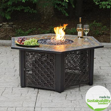 Image 1 - Slate Tile Hexagon Propane Gas Fire Pit In Bronze - The Open Box Shop