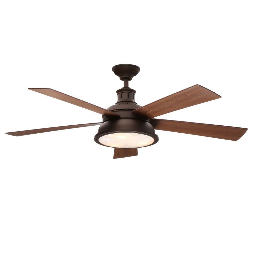 Indoor Oil-Rubbed Bronze Ceiling Fan Hampton Bay Marlton 52 in