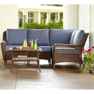 Spring Haven Brown 5-Piece All-Weather Wicker Patio Sectional Seating Set
