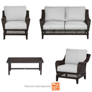 Hampton Bay Woodbury Burgundy Patio Deep Seating Set