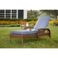 Spring Haven Brown All-Weather Wicker Patio Chaise Lounge with Sky Blue Cushions