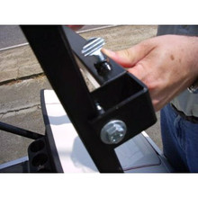Offset so you can mount inside or outside the Clubcar front frame. Plus, a windshield can be used.