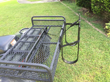 """This basket has 11"""" for a rider to sit and 11"""" more inches behind this Honda Foreman 450 rack. Your ATV may vary. There is an inch and a half gap between the 11 inches of the front and the 11 inches in the back of the basket. Some state laws forbid a rider on the rear of an ATV."""