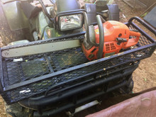 Our new ATV baskets have tie down handles to secure items from coming out on rough terrain driving. This is a 2002 Honda Foreman the basket is on.
