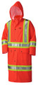 Orange PU Stretch Hi-Viz Flame Resistant Long Raincoat