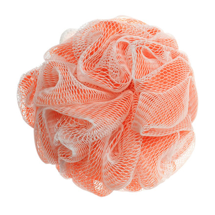 This foam-enhancing, orange and white pouf is perfect for applying our Vitabath Gelee.