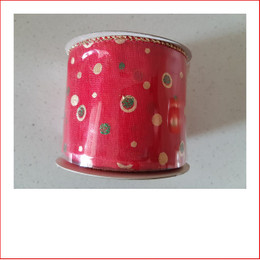 Christmas Ribbon Yuletide Red Ribbon with Gold Dots 63mm looks great with the final touch of the gold dots.